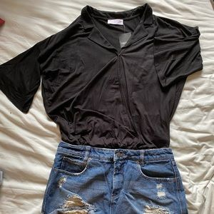 Black flowy notched collar top